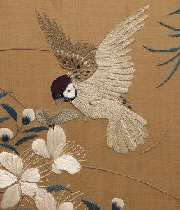 Japan i Kongehuset, silkeskærm fra 1800-tallet, detalje 1
