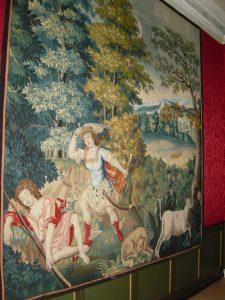 Tapet med guden Merkur og den sovende Argus. I Frederik 4.s kabinet på Rosenborg.